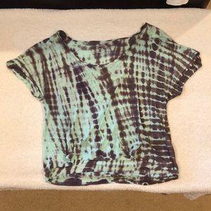 Mint green tie dye planet blue shirt